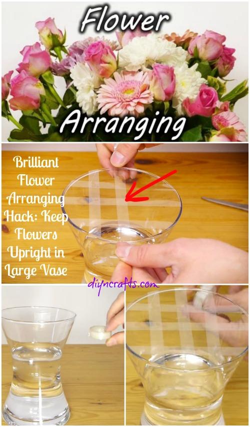 Brilliant Flower Arranging Hack: Halten Sie Blumen aufrecht in großen Vase