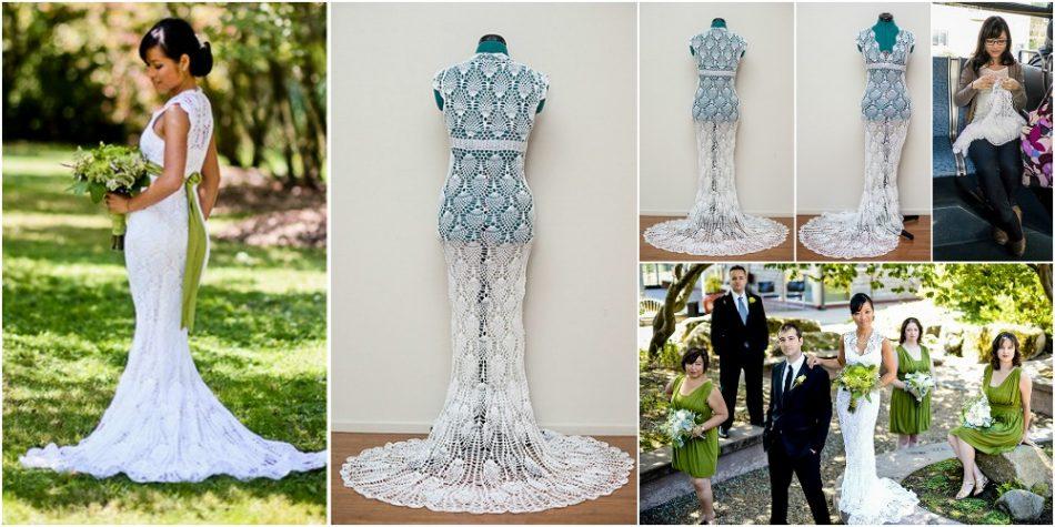 Sie häkelte ihr atemberaubendes Hochzeitskleid für nur $ 30 ... Finden Sie heraus, wie