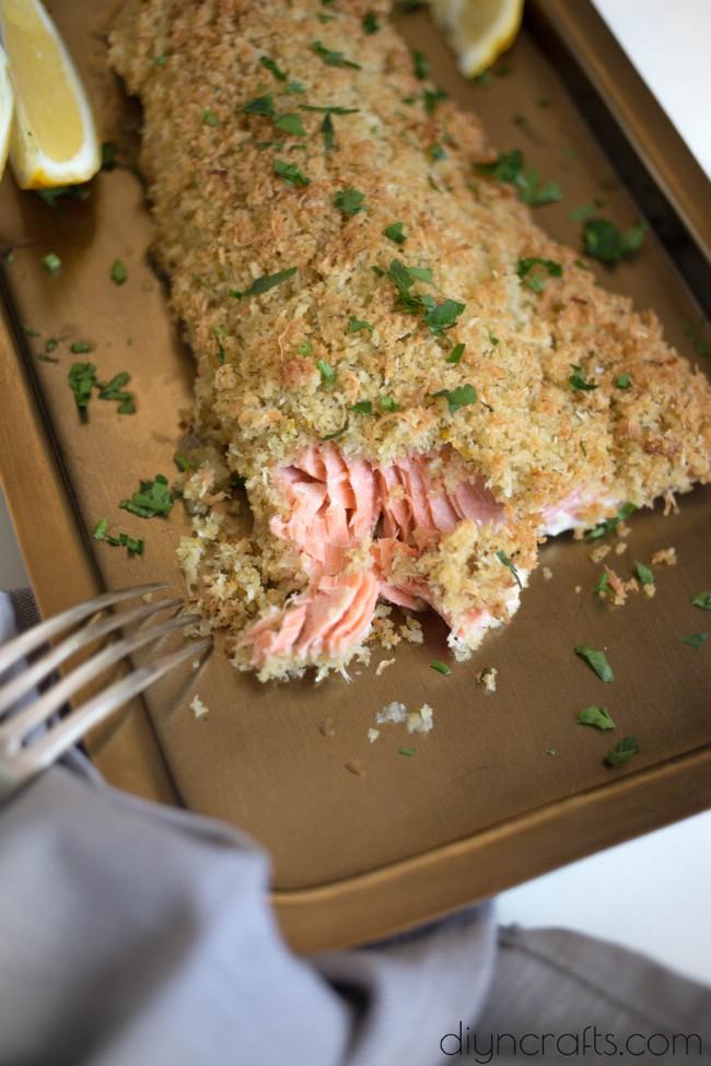 Knuspriger Knoblauch-Parmesan-Lachs ist sicher, Ihre Geschmack-Knospen glücklich zu lassen