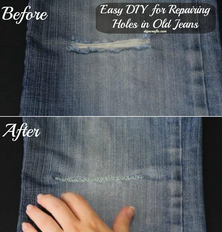 Einfaches DIY zum Reparieren von Löchern in alten Jeans