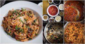 Spaghetti Puttanesca ist eine köstliche Twist auf einem traditionellen Favorit