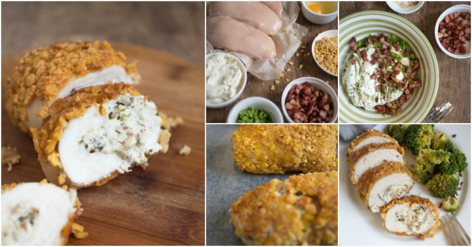 Knusprige Käse und Speck gefüllte Hähnchenbrötchen - ein einfaches Familienessen Rezept