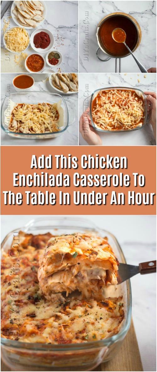 Fügen Sie dieses Huhn Enchilada Casserole zum Tisch in weniger als einer Stunde
