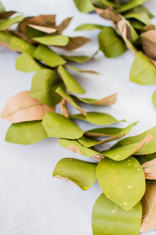 Papier-Magnolien-Blatt-Girlande