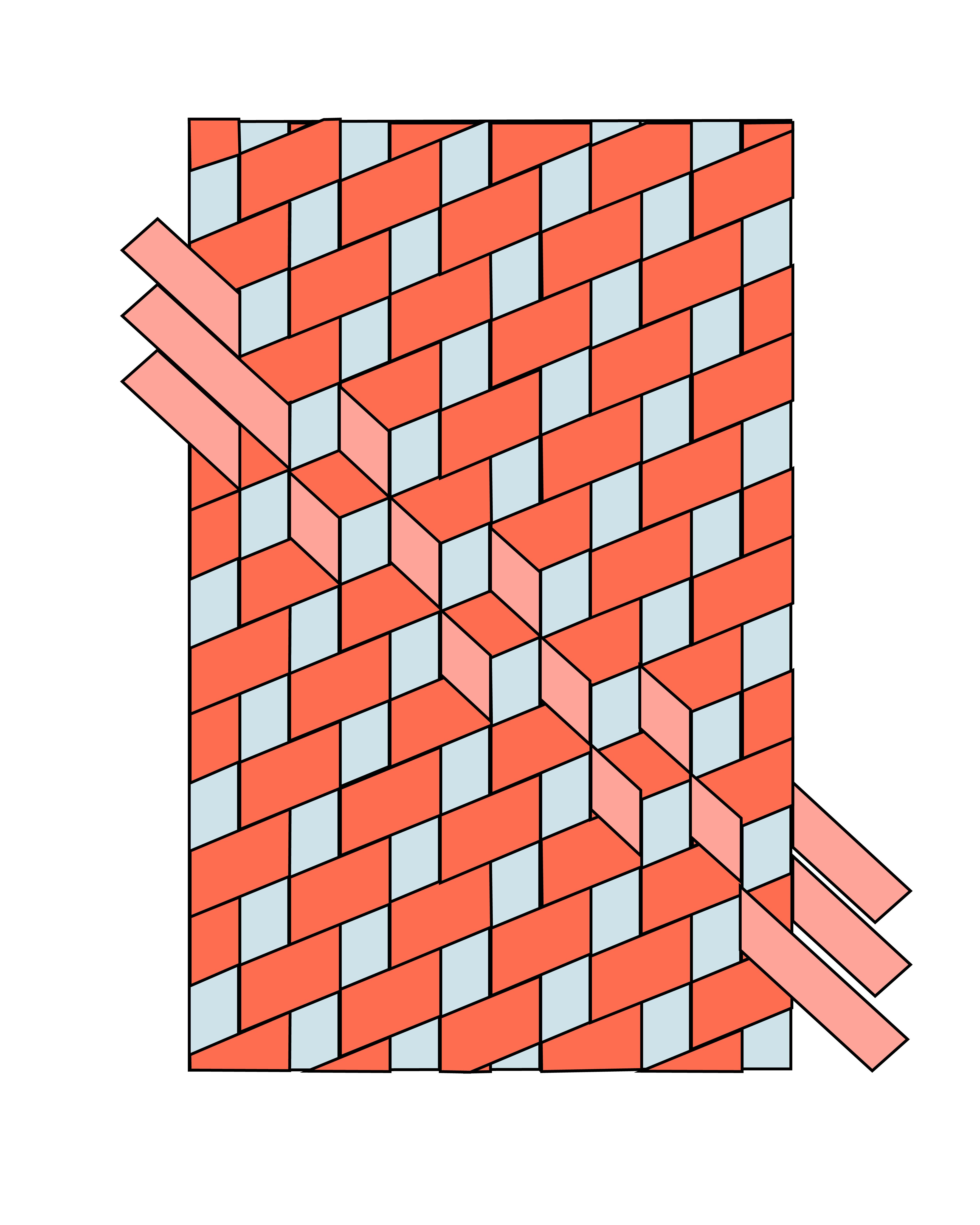 Tumbling Block Schrägband Weben