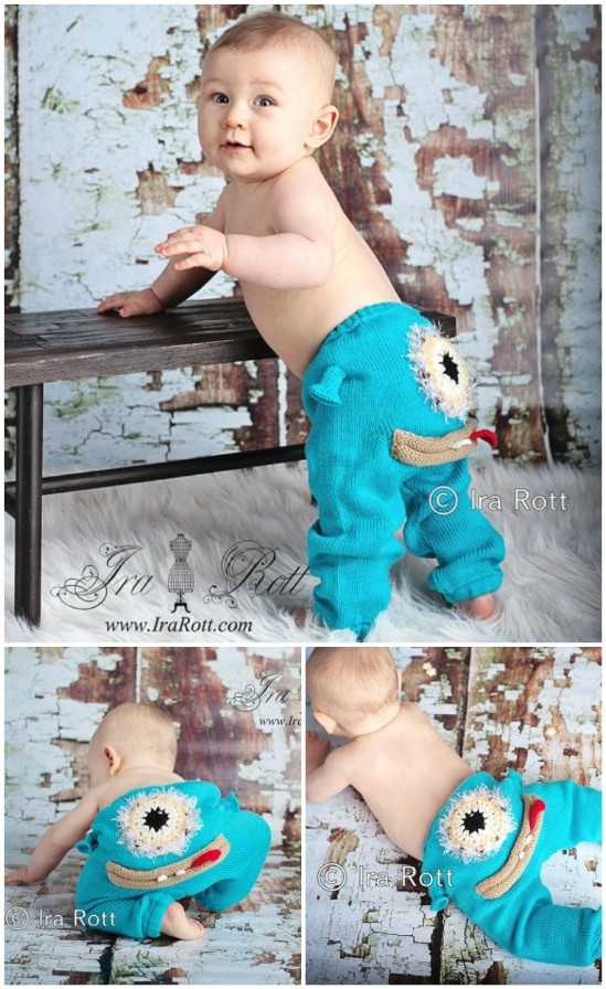 Stricken Sie diese entzückende Monster Hose für Ihr Lieblingsklein Monster