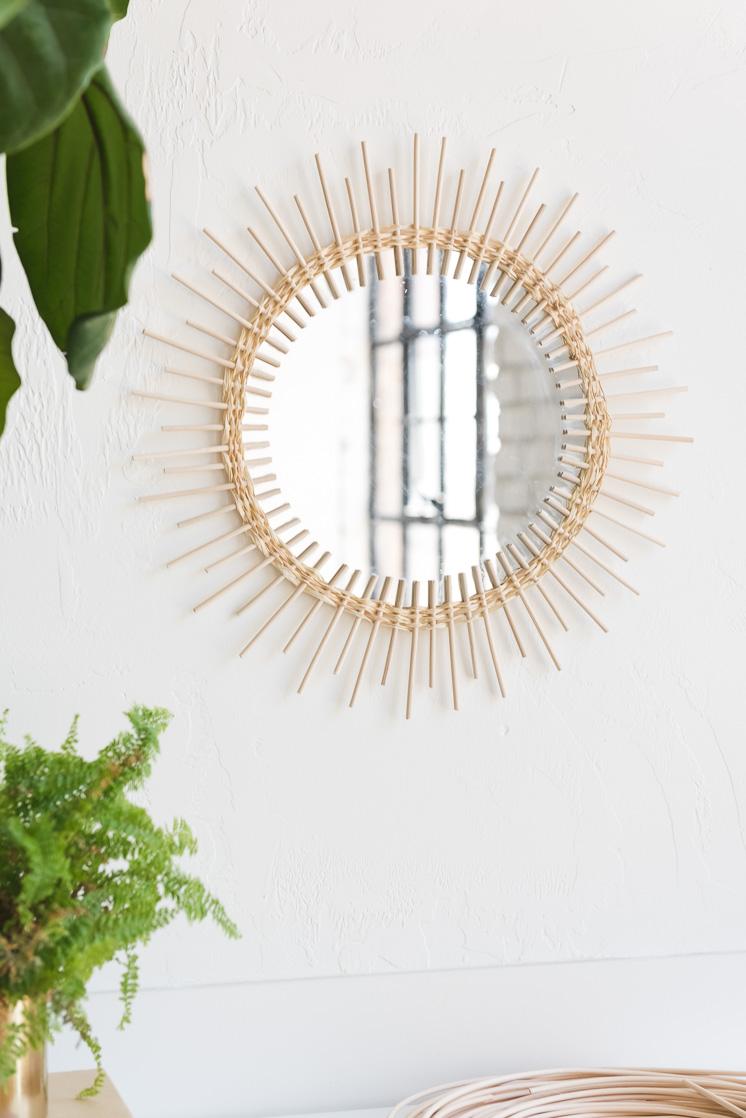 DIY Rattan Sunburst Spiegel