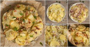 Dieser einfache Kartoffel-Kuchen mit Zwiebeln ist das perfekte in einer Mahlzeit