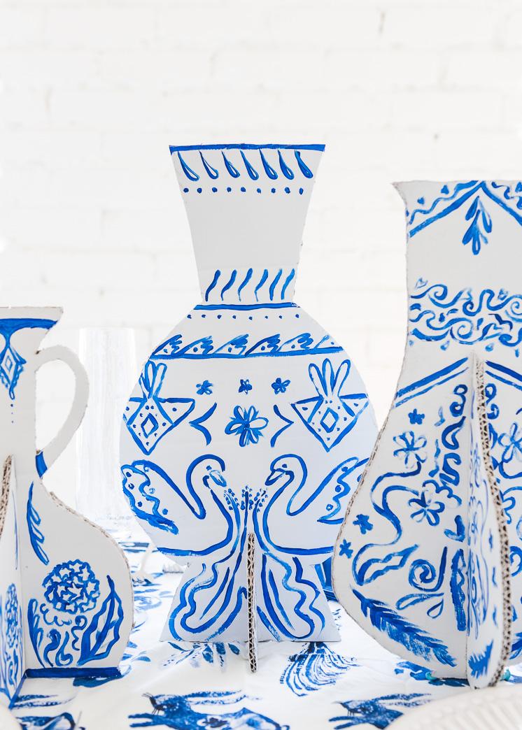 DIY bemalte Karton Vasen