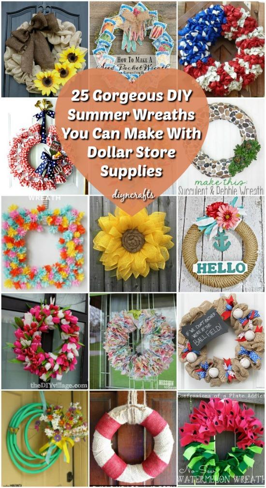 25 wunderschöne DIY Sommerkränze können Sie mit Dollar Store Supplies machen