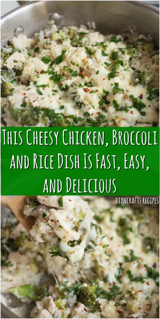 Dieses käsige Huhn, Brokkoli und Reisgericht ist schnell, einfach und köstlich
