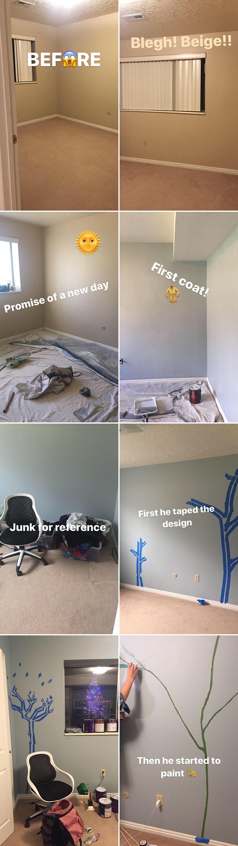 Vorher und nachher: Unser Baby Boy Kinderzimmer Wandbild