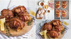 Käse gefüllt und Speck gewickelt Huhn Oberschenkel Rollen Rezept
