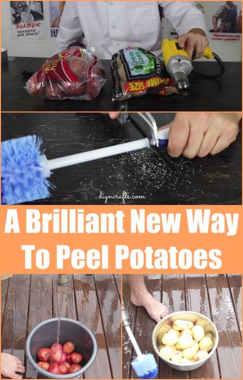 Wahrscheinlich der beste Hack, den Sie jemals sehen werden: Kartoffelschälen mit Elektrowerkzeugen