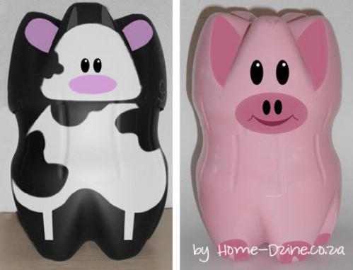 Entzückende DIY Piggy Querneigungen von den Plastikflaschen