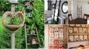 40 Holzleiter Repurposed Ideen, die Bauernhaus Charme zu Ihnen nach Hause hinzufügen
