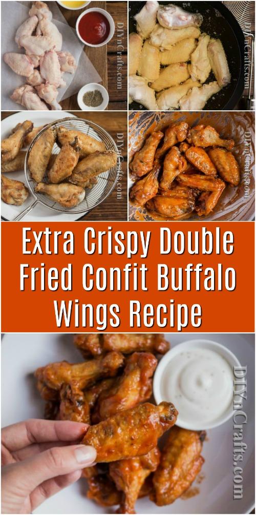 Extra knusprig doppelt gebratene Confit Buffalo Wings Rezept