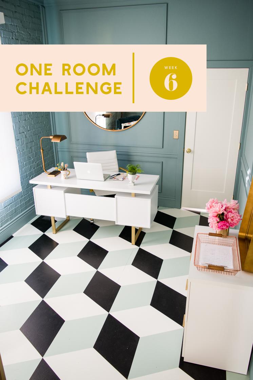 One Room Challenge Woche 6: DIY Tumbling Block bemalte Fliesen