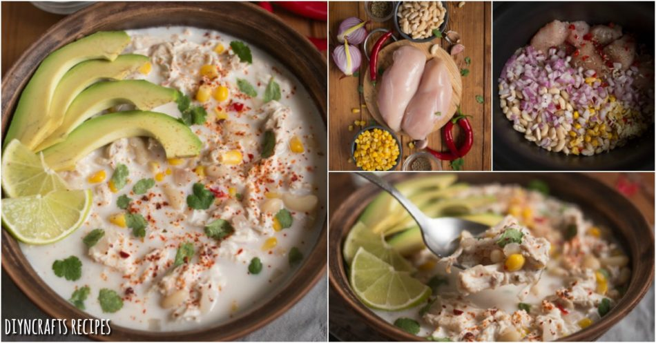 Creamy White Chicken Chili ist die perfekte Slow Cooker Mahlzeit für anstrengende Nächte