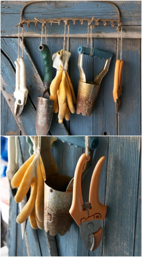 25 Rustikale Repurposed-Ideen, alte Gartenwerkzeuge gut zu verwenden